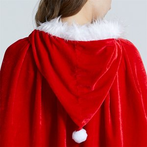 3Size Red Velvet Hooded Cape Cloak Sexy Santa Cosplay Christmas Costumes Women Carnival Party Clubwear Winter Warm Overcoat GWE1871
