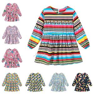 2020 Printemps Baby Girl Robe Tendance Girls Filles Princesse Robes Mignon manches longues One Piece Robe Flora Vêtements imprimés 90-130cm Nouveau D82005