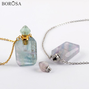 Geometric Fluorite Perfume Bottle Pendant Necklace Gold Silver Plated Gems Stones Essential Oil Diffuser Necklace Charm WX1619