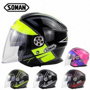 Новый мотоцикл Capacete Double Lens Половина шлет Casco Moto Four Seasons Summer Adult Счет Helmet Europe стандарта ЕЭК LroL #