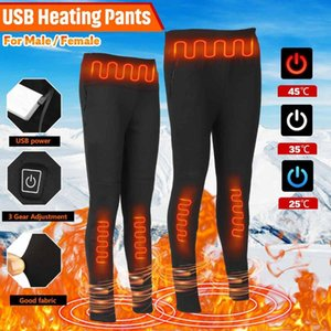 M-6XL Women Men Winter Outdoor Hiking Heating Trousers 3Gear Slim USB Charging Heated Pants Skiing Electric Heated Pants Trouse