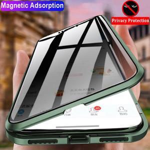 Telefono Caso magnetico per iPhone 11 Telaio Pro Xs Max copertura XR 8 pieno in lega di alluminio con la copertura posteriore di vetro temperato