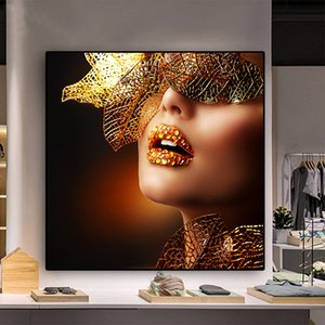 Nordic Modern Gold Lips Fashion Sexy Women Painting Canvas Pop Art Posters and Prints Scandinavian Wall Picture for Living Room