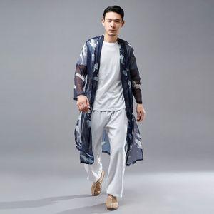 O8ObS 2020 весной нового Coat этнического Blue Crane национальности Подвеска национальности мужской рубашка шифон Зонт свет кулон тонкий слой