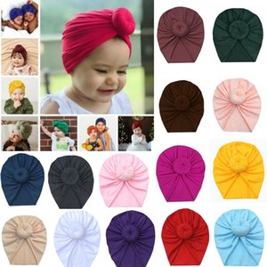 22 개 색상이 귀여운 아기 도너츠 머리띠 소프트 탄성 아기 여자 머리띠 헤드 랩 유아 Headwears 아기 터번 Headwraps M2527을 INS