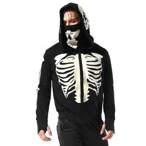 Sleeve Silk Printed Screen Party Long Masked Face Hoodie Hoodie Custom Unisex Skeleton Pattern Hoodie OEM Kuinw