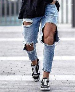Jeans Moda a lungo regolare metà di vita Designer Mens Pants Light Blue Hole Mens Pencil