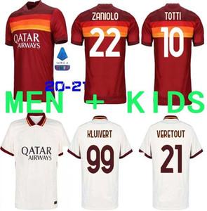 nueva 20 21 AS Roma fútbol jerseys Kolarov 2020 2021 TOTTI camisa maglia da calcio DZEKO Fútbol CENGIZ BAJO Mens uniformes del kit Niños Kluivert