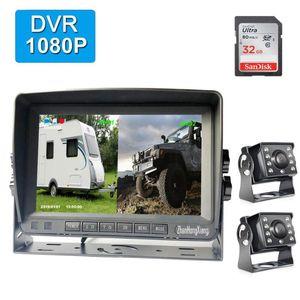 "7"" IPS Car Rear View DVR Monitor System + AHD 1080P 8LED IR Night Vision Reverse Backup Camera Kit 4Pin For RV Bus Truck Trailer"