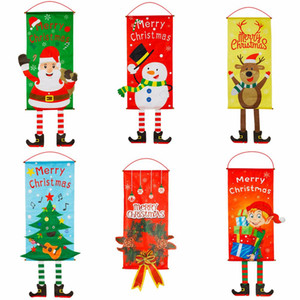 US Stock Merry Christmas Decorations Window Door Hanging Flag Mall Hotel Party Hanging Ornaments Wall Cloth Xmas Home Decoration