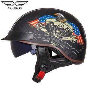 Новое прибытие Vcoros MT-4 Урожай ретро мотоцикл шлем открытый шлем лица для мотоцикла скутер Мото Jet автоКАСКО