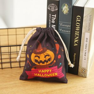 20*16cm Halloween decorations canvas candy bag bundle pocket gift bag Children's Halloween party supplies carrying pumpkin witch bag lxj127