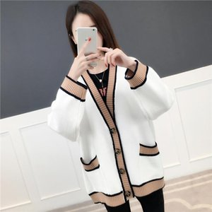 Female Big V Neck Cardigans Loose Lazy Style Casual Winter High Quality Patchwork Sweaters Drop Shipping