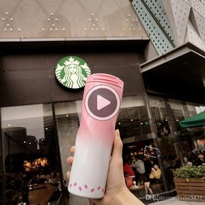 Новый Starbucks Sakura Pink Спираль Вакуумная чашка из нержавеющей стали Сопровождающие чашка серии Cherry Bom из dooor спорта 47L Cee чашки