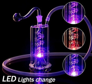 Led Hookah Glass Pipe Color Change Light Bongs Dab Oil Rig Percolater Bubbler Water Pipes Portable Shisha Oil Hookahs Ash with Tobacco