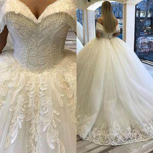Luxury Beaded Ball Gown Wedding Dresses Off The Shoulder Lace Appliqued Crystal Bridal Gowns Arabic Plus Size Vestido De Novia