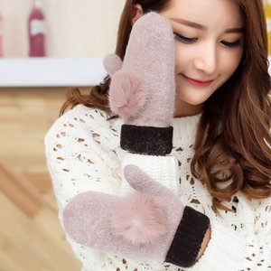 Cute belt hair ball double thick warm mittens winter wool ladies warm riding windproof full finger gloves L94