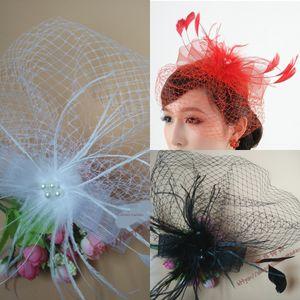 Свадебные аксессуары для волос белых марлей перо лук многослойности большой бабочка Veil сетка вуаль цветочного головного убор маленькой шляпа шпильки головной убор pGhp