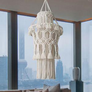 1pc Mão-de Malha abajur Macrame Decoração Hanging Lamp Sala Decoração do casamento Tassel abajur Tapestry
