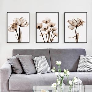Şık Şiir Modern'in 3adet Şeffaf Çiçek A4 Tuval Boyama Sanatı Baskı Poster Resim Ana Sayfa Duvar Süsleme Basit Duvar Dekor