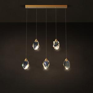 Postmodern Crystal Stone Designer Cuivre Lustre LED droite d'éclairage Lustre Suspension Luminaire Lampen Pour Dinning Room