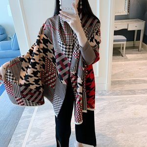 2020 New Winter Scarf Women Cashmere Double scan Bandana Fashion Plaid Patchwork Shawl Warm And thick Female Hair scarf