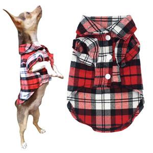 Vêtements d'été Printemps pour petits chiens Chats classique Plaid chiot T-shirt Pet Dog Shirts Cotton Chihuahua Yorkshire Vest Vêtements