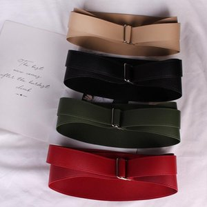 2020 New Solid Color Soft Leather With Ultra-wide Waist Seal Women's Fashion Concave Shape Waist Belt