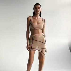 Femmes Designer Patchwork Deux Piece Set Casual Crop Top Deux pièces Robe irrégulière Mode printemps été une épaule Deux Pièces Costume Vestidos
