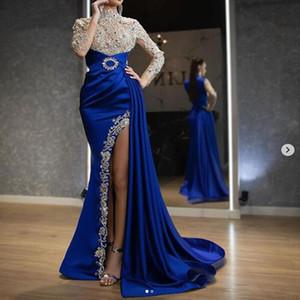 De lujo azul real vestido de fiesta de la sirena 2020 Perlas de lentejuelas de manga larga lateral de Split vestido de noche vestidos de bata de soiree