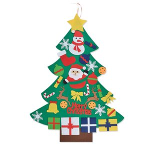 Felt Christmas Tree, DIy Christmas Tree Decoration Hanging Deco for Kids Gift with 30PCS Ornament Wall Hangi
