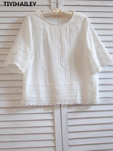 TIYIHAILEY Free Shipping 2020 Summer New Cotton Tops For Women Half Sleeve O-neck Embroidery Tees Thin Soft White Japan Style