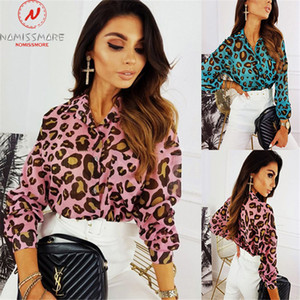 Fashion Women Spring Autumn Thin Shirts Button Decor Turn-down Collar Long Sleeve Leopard Print Slim Cardigan Top