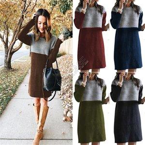 2020 Kış Bayan Triko Elbise Sıcak Örme Eklenmiş Etekler Gevşek Oversize Genel Elbiseler Süveterler Butik Giyim S-3XL D82603