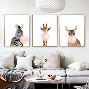 DDHH Cartoon Giraffe Zebra Animal Posters Prints Canvas Art Painting Wall Art Nursery Picture Nordic Kids Baby Room Home Decor