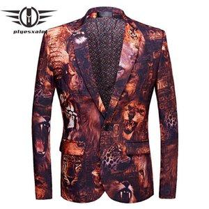 Plyesxale Marken-Mann-Blazer-Jacke Slim Fit 3D Tiger Lion Mens Printed Blazer Neue Modelle Herren Blazer Bühnenkostüm Homme Q483