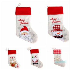 Weihnachten Große Socken Weihnachten Plaid Sankt-Schneemann-Ren Printed Aufmaß Socken Weihnachtsschmuck Halloween Beuter Erweiterte Geschenk-Taschen WY85