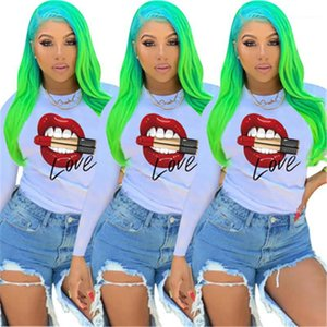 Neck Casual Tees Tshirts Ladies Lips Printing T-shirts Fashion Occident Trend Loose Long Sleeve Tops Designer Female New Round