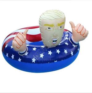 Float fumetto Trump anello di nuoto gonfiabili galleggianti gigante addensare Circle Flag Swim Bathing Ring per unisex estate Pool Party Giocattoli D81712