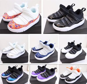 2020 Kids 11 11s Basketball Shoes Girls Slip-On Bred Concord Space Jam Pink Gym Red Boys 11 Shoes children Sneakers Baby gift 24-35