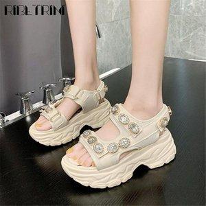 RIBETRINI Moda strass scarpe classiche del progettista della piattaforma donne sandali estivi comodi sandali dei cunei