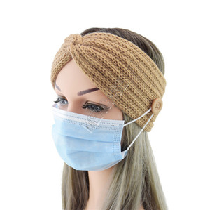 Mode solides Femmes en tricot Bandeaux Hairwrap avec bouton pour Masque Visage Facemasks Porte Hairlace cheveux accesseries hiver chaud HeadwearD82701