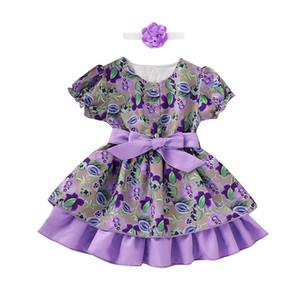 Clearance New summer babys Dress Children Kids Girls Short Sleeve Button Floral Tutu Dress+Headbands Set Outfit Z0207