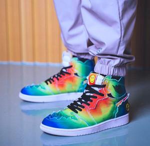 J Balvin x 1 haute OG Chaussures de basket-ball multi-couleurs arc-en-Tie Dye 2020 New authentiques 1s Mens Sport Sneakers avec la boîte DC3481-900