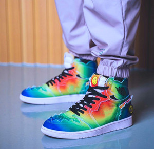 J Balvin x 1 High OG Basketball-Schuh-Multi-Color-Regenbogen-Bindungs-Färbung 2020 neue authentische 1s Mens-Sport-Turnschuhe mit Kasten DC3481-900