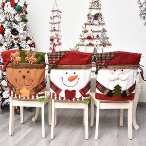 Sankt-Schneemann Elk Hussen Christmas Decor Dinner Chair Weihnachten Cap-Sets Dinner Table-Hut zurück Covers