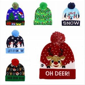 LED Light Christmas Hat Winter Warm Beanie Sweater Knitted Light Up Hat New Year Xmas Luminous Flashing Knitting Crochet Cap 30pcs LJJP325-1