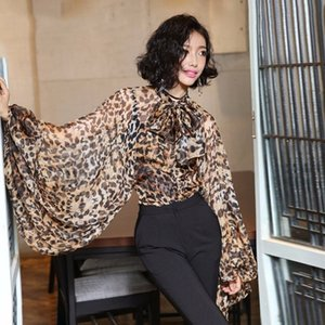 Hot Sale Leopard Shirt Female Chiffon Lace Up Bow Lantern Sleeve Oversize Blouse Top For Women Summer Fashion Sexy Clothing