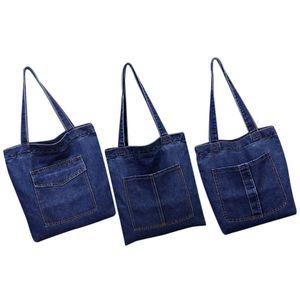 FGGS-Women Bag Large Capacity Cowboy Handbag Wild Casual Canvas Denim Shoulder Bag Flap Shopping Bag, Model 2