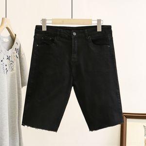 nM6f2 LBf1K Plus Plus coreano das mulheres e 200 kg de gordura mm de verão 7803 do estilo do tamanho calções vestuário denim short magro nova